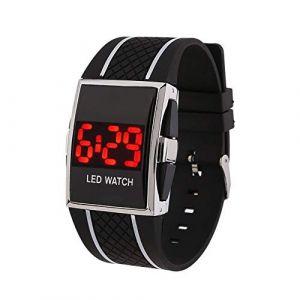 Montre LED Bande de silicone LED Digital Date Calendar Sportif Electronic Unisexe Montre-bracelet (Color : Black+White) (AiSiWeiDianZi, neuf)
