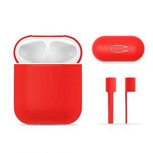 Étui Protecteur AirPods, FRTMA Boîtier de Silicone AirPods avec la Sangle de Sport pour Apple AirPods, Rouge (frtEU ECLTD, neuf)
