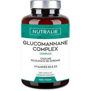 Konjac Glucomannane 3.000mg par dose   Aide Minceur et Coupe-Faim 100% Naturel avec Bitartrate de Choline, Picolinate de Chrome et Vitamines B3 et D3   120 Gélules Végétales   NUTRALIE (AUDENTIS, neuf)