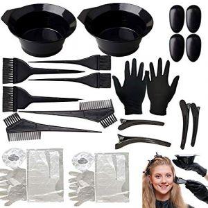 19pcs Outil de Coloration des Cheveux, Kit Teinture Cheveux, avec Peigne Pinceau Brosse Bol Gant pour DIY Salon pour les cheveux Kit de Outils de Coloration (longyisound, neuf)