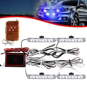 KaiDengZhe 4x4 LED 4 en 1 Stroboscopique Avertissement DC12V Urgence Clignotant Balise Lampe Sans Fil À Distance Stroboscope Lumière Urgence Lumière Externe Pour Camion Remorque Caravane (Bleu) (KaiDengZhe, neuf)