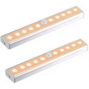 ?Upgrade Version?Lampe Détecteur de Mouvement, Veilleuse 10 LED avec Bande Magnétique, Alimenté par Batterie(Sans Fil), Lumière Automatique d'Armoire Placard Cabinet (blanc chaud) (tianzexuan-UK, neuf)
