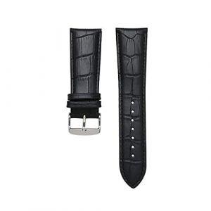 Bracelet en Cuir Bracelet de Bracelet Pin Fermoir Alligator Grain Bracelet de Montre, Argent Noir Boucle, 24mm (suizhoushizengdouquyuezichuanbaihuodian, neuf)
