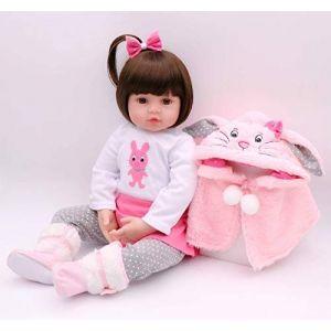 iCradle Reborn poupée 45cm / 55cm Reborn bébé poupée en Silicone Souple poupée Fille Souriante avec Lapin châle Enfant Cadeau (18Inch) (Reborn baby Dolls land, neuf)