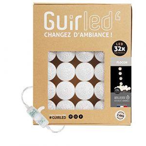 Guirlande lumineuse boules coton LED USB - Veilleuse bébé 2h - Adaptateur secteur double USB 2A inclus - 3 intensités - 32 boules 4.8m - Flocon (Lighting Arena, neuf)
