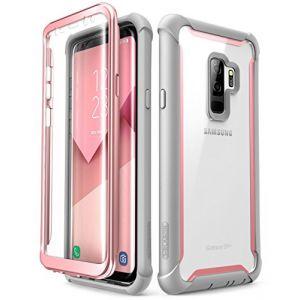 i-Blason Coque Samsung Galaxy S9+ Plus, [Série Ares] Coque Intégrale Anti-Choc avec Dos Transparent et Protecteur d'écran Intégré [Résistant aux Rayures] pour Samsung Galaxy S9+ Plus 2018 (Rose) (I-Blason EU, neuf)