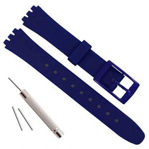Bracelet de Montre de Rechange en Caoutchouc de Silicone étanche 12 mm pour Swatch (12 mm, Bleu) (ColorBerryFR, neuf)