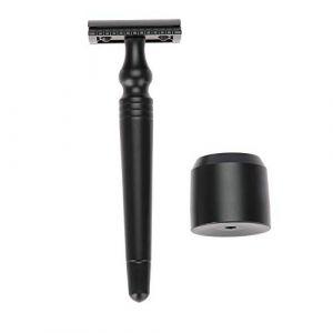 Rasoir de sûreté à double tranchant avec base pour rasoir - Ensemble d'outils de rasage manuel pour moustache Fin Fini chrome à long manche 3,5 pouces - Antirouille et incassable (Bamfive-a, neuf)