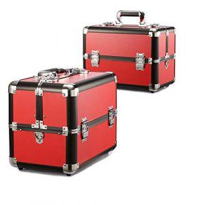 Mallette cosmétique en aluminium multifonctionnelle de valise professionnelle grande valise professionnelle,Red (Wzq-UK, neuf)