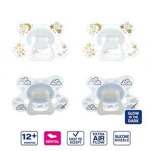Difrax Dental Sucette 12-18 Mois, Lot de 4 Sucettes avec Tétine Silicone, Phosphorescente Nuit, Facilement À Accepter, un Apport Optimal d'Air - Multicolore (Difrax, neuf)