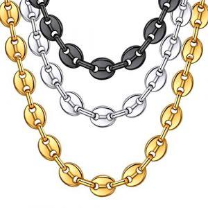 ChainsHouse-Chaîne du café grine-Collier Seul Cercle-Ras du Cou pour Hommes-Milticoloré Acier/Or/Noir-Collier étanche (ChainsHouse Jewellery, neuf)
