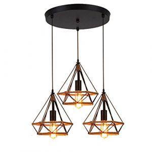 STOEX Lustre Suspension Industrielle 25cm en forme Diamant Corde de Chanvre Ajustable Luminaire pour Salle à Manger,Bar,Chambre (STOEX, neuf)