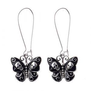Juily Femme Vintage Mode Papillon Noir émaillé gothique Tête de mort Punk Boucles d'oreilles pendants Robe de fête Crochet Boucles d'oreilles bijoux (FISIOAN, neuf)