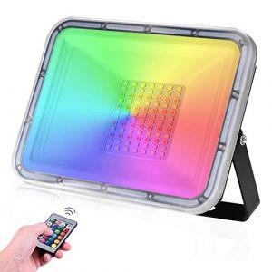 Projecteur Extérieur RGB 50W 16 couleurs & 4 modes Spot à LED avec télécommande Étanche IP67 Lumière de sécurité Projecteur LED pour Jardin Party Cour Musique Festival(Pas de mémoire) (LEDAAAlight, neuf)