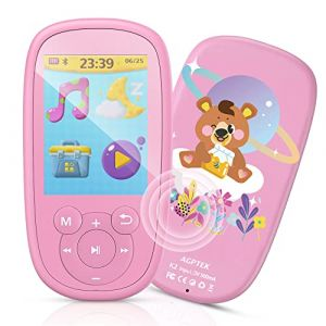 AGPTEK MP3 Enfant Bluetooth 8Go Licorne Design avec Haut-Parleur, Lecteur de Jeux Ecran 2.4'' Ecouteur et Corde Inclus, Baladeur Musical Sport Radio FM Vidéo Enregistreur pour Cadeau de Fête-Rose (Dreameater, neuf)