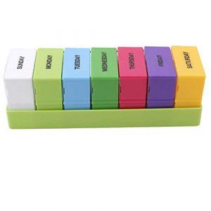 Winwinfly Portable Boîte De Pilules Hebdomadaire 7 Jours Médicament Boîte Titulaire Vitamine Medicine Soins De Santé Pill Cas (Vert) (HuiZhuang, neuf)