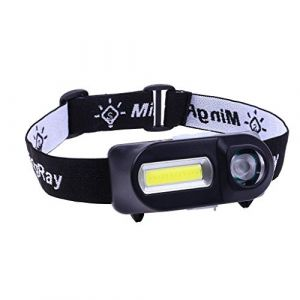 TriLance Lampe Frontale LED Ultra Puissante, Phares Rechargeables USB Léger, 180lumn (COB), 100lumn (XPE) Éclairage à 6 Modes Étanche, pour Pêche, Camping, Lecture, Randonnée, Cyclisme etc (Noir) (TriLance, neuf)