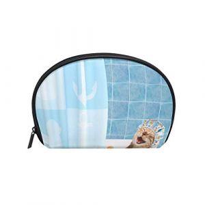 Trousse de maquillage avec fermeture à glissière cosmétique sac d'embrayage animal drôle chat heureux bain jouet jouet canard voyage sac de rangement sac carré pour les femmes dame (Janet Hornby, neuf)