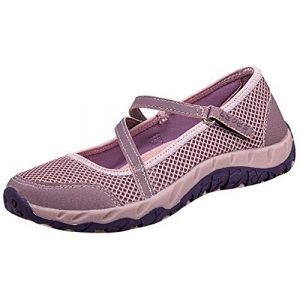 H-Mastery Femme Chaussures de Sport Respirante Léger Mesh Fitness Baskets pour Ballerine Yoga Marche Outdoor Velcro Mary Janes(Rose,Taille38) (Hanson Mastery, neuf)