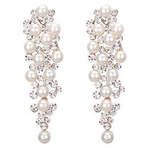 Clearine Femme Mariage bijou Cristal Perle Artificielle Cluster Chandelier Boucles D'oreilles Pendante Ivorine (JoinMe UK, neuf)