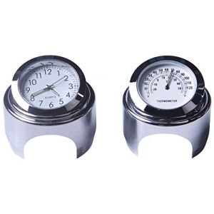 Yooap Horloge De Guidon De Moto Et Thermomètre 18/20 Cm Horloge De Guidon De Moto Imperméable Universel Kawasaki Honda Suzuki Harley Davidson (blanc) [Classe énergétique A ++] (Future best, neuf)