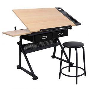 D4P Display4top Station de Dessin réglable à Inclinaison, Table à Dessin Technique (avec Deux tiroirs de Rangement et Un Tabouret) (Bigger 2 Bigger, neuf)