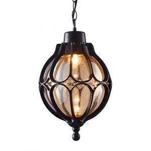 Luminaire suspendu plafond noir aluminium moulé sous pression E27Chaîne lampe suspendue étanche extérieure ajustable Globe Suspension Lanterne Boulepavillon méditerranéenVilla[Classe énergétique A+++] (Barn Lighting, neuf)