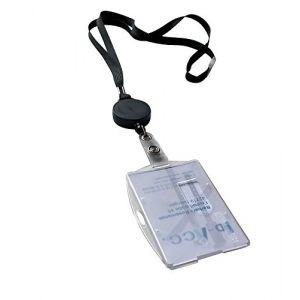 5 pièces Cordons tour de cou sécuritaire noir avec zip retractable et porte-badge vertical/horizontal pour 2 cartes (ID-ACC, neuf)