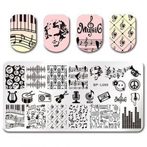 Manucure Nail Plaques Note De Musique Nail Plate Nail Art Stamp Image Temlate Diy Impression Pochoir Manucure Nail Beauté Outil (wangzubang, neuf)