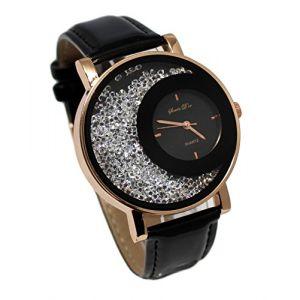 montre femme cristal strass Gold rose cuivré bracelet cuir noir collection dolce vita (licence team, neuf)