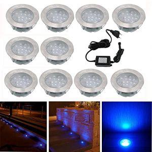 Spot Encastrable LED pour Terrasse,Mini Spot Encastré en DC12V IP67 Etanche Ø60mm Acier Inoxydable Exterieur luminaire,Eclairage pour Jardin,Couloir (Bleu, 10 KIT) (CHENXU, neuf)