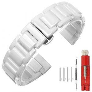 Kai Tian Bracelet de montre à dégagement rapide de 22mm Bracelet en céramique blanche Fermoir de déploiement Bracelet montre femme Fermoir papillon (Ka Tian, neuf)