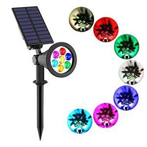 T-SUNRISE Lampe Solaire exterieur, 7 Led Spot Led couleur Solaire avec 7 couleurs Lampe Solaire couleur changeante de sécurité chemin (T-SUN Tech EU, neuf)