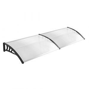 LZQ Auvent de Porte, Auvent fenêtre, Auvent Marquise, Marquise de Porte d'entrée en Polycarbonate Transparent, Porte Résistante Toit Abri Protection Contre La Pluie et UV Noir 200 x 100cm (Ouhigher, neuf)