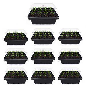 willkey Lot de 10 Bac à semis, Mini Serre pour semis, Plateaux de Culture avec Couvercle, Propagateur Jardin pour démarrage et Croissance semence, Germination Serre Durables - 120 cellules (g9KK7, neuf)