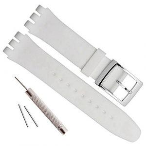 Bracelet de montre étanche en caoutchouc de silicone de remplacement pour Swatch (17mm 19mm 20mm) (19mm, White) (ColorBerryFR, neuf)