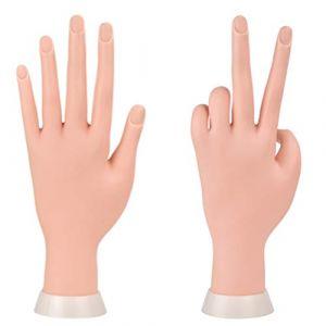 Manucure Practise mains et doigts à ongles Main Practise Modèle flexible Mobile Plastique Souple de la main pour faux ongles Art Starter d'entraînement (BaSha, neuf)