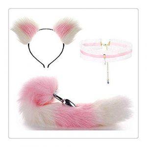 Métal renard/queue de chien bouchon court en peluche oreille chat bandeau avec dentelle collier tour de cou collier ensemble Halloween partie jouet amour cadeau (Jin Yulong, neuf)
