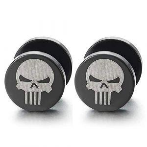 Acier Homme Argent Noir Punisher Crâne Boucles d'oreilles - Bouchon Jauge d'oreille Faux Cheater Fake Gauge Plug(10MM) (iMECTALII EU, neuf)