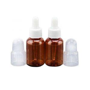 35ml Brown Bouteilles en plastique Dropper avec Pipettes silicone et caoutchouc tête / Essence Maquillage cosmétique Bouteille de Sample Container pour Huile essentielle d'aromathérapie utilisation (erioctry-1, neuf)