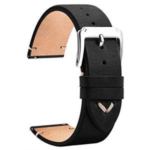 TStrap Bracelet Montre 18mm - Cuir Bracelet Noir Marron - Watch Strap Homme Femme - 18mm, 19mm, 20mm, 22mm (EElife-UK, neuf)