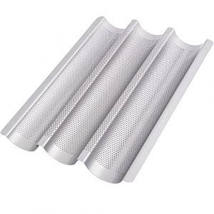 GOURMEO plaque de cuisson pour baguette (38 x 24,5 cm) pour 3 baguettes avec revêtement antiadhésif en gris argent forme baguette, plaque pour baguette (Le Crussol, neuf)
