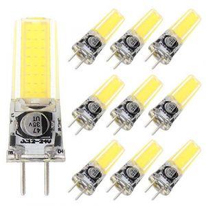 GRV Ampoules de rechange GY6.35 COB 2508 4 W DC12 ~ 24 V Lumière à LED en silicone de 35 W, blanc froid 10 pièces (FRGRV, neuf)