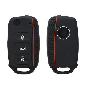 kwmobile Accessoire clé de Voiture pour VW Skoda Seat - Coque pour Clef de Voiture VW Skoda Seat 3-Bouton en Silicone Noir-Rouge - Étui de Protection Souple (KW-Commerce, neuf)