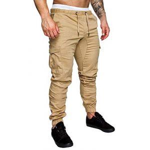 Minetom Homme Pantalons De Sport Running Training Slim Cargo Legging Jogging Fitness Gym Chino Pants Mode Casual Été Automne Kaki X-Small (ORANNER EU, neuf)