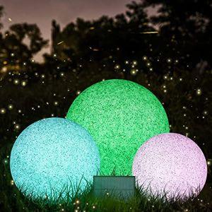 Lampe Solaire de Jardin Boule LED Solaire avec Télécommande, avec 8 Couleurs IP68 Lumière à Boule pour l'extérieur Diamètre (20cm) (MALUX, neuf)