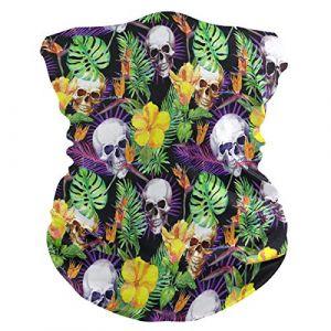 QMIN Bandeau Tropical Palmier Feuilles Tête de Mort Floral Bandana Visage Soleil Protection Masque Cagoule Magique Cagoule pour Femmes Hommes Garçons Filles (QMIN, neuf)