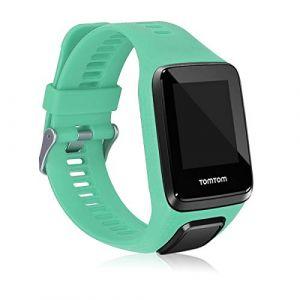 kwmobile Bracelet Compatible avec Tomtom Adventurer/Runner 3/Spark 3/Golfer 2 - Bracelet de Rechange en Silicone pour Fitness Tracker Menthe glaciale (KW-Commerce, neuf)