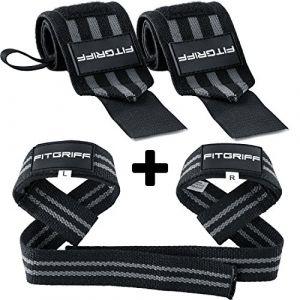 Fitgriff® Bande Poignet + Sangles de Levage de Musculation (Ensemble) / Protego Poignet + Sangle Sangle de Tirage Musculation/Wrist Wraps + Lifting Straps (Black/Grey) (Fitgriff, neuf)