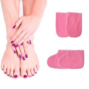 Frcolor Mitaines en paraffine, gants en éponge Mitaines de bain en cire chauffe Chaussons de manucure pour (1 paire de gants + 1 paire de sangle de pied, rose) (Ansuen, neuf)